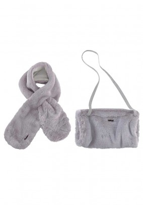 Muff and scarf, grey