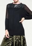 Juodas laisvas megztinis