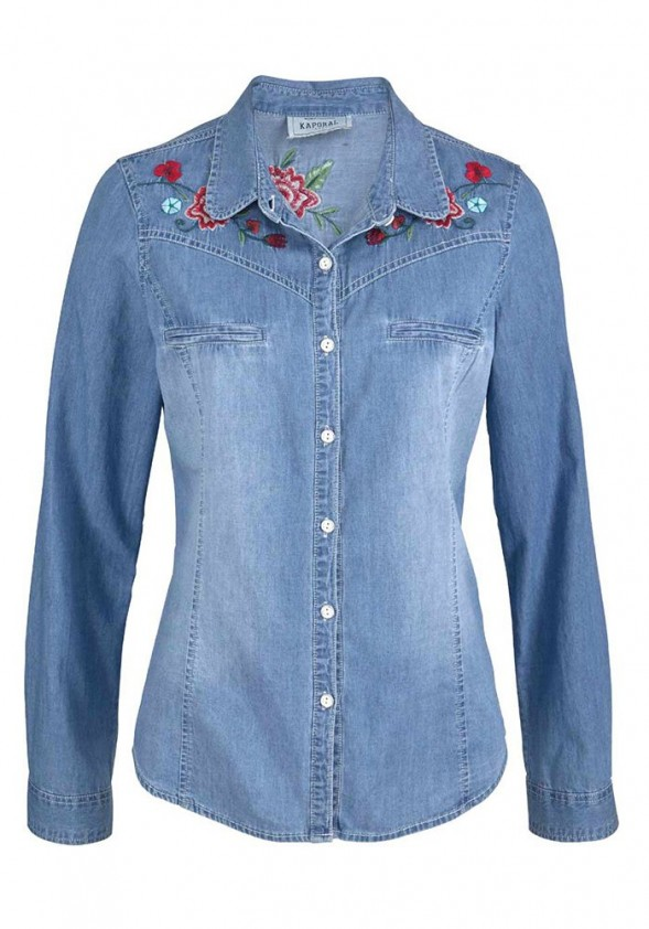Women's jeans shirt with embroidery, light blue