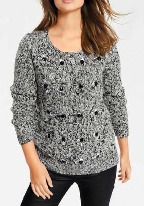 "Pilkas dekoruotas megztinis ""Stone"""