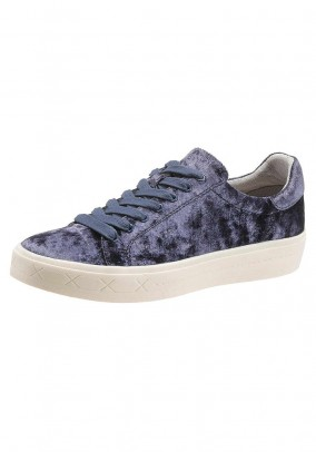 Velvet lace up shoe, blue