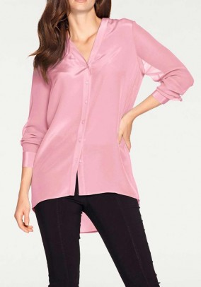 Silk blouse with chiffon sleeves