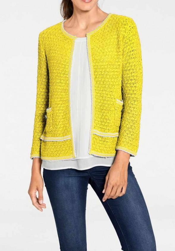 Ryškiai geltonas megztinis