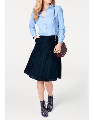 Mėlynas velveto sijonas