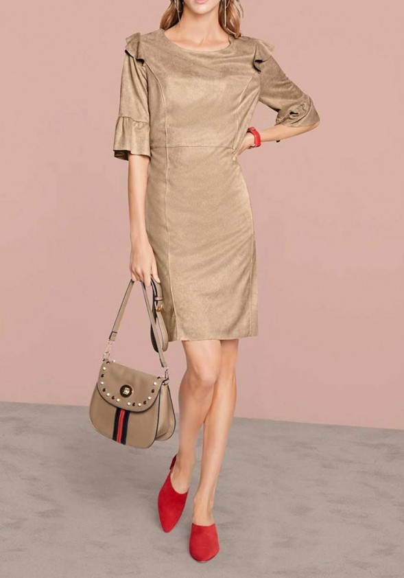 Velours imitation dress, sand