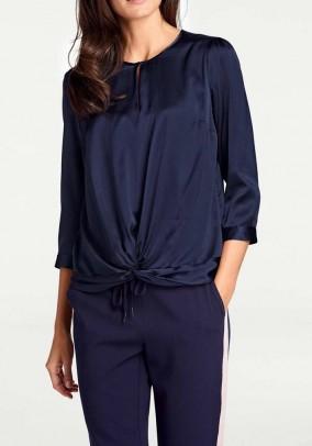 Designer silk wrap blouse, navy