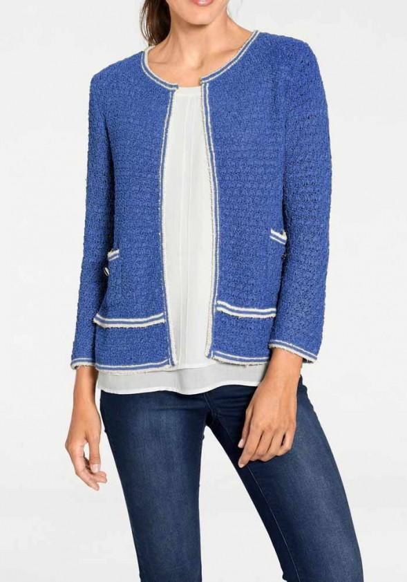 Ryškiai mėlynas megztinis