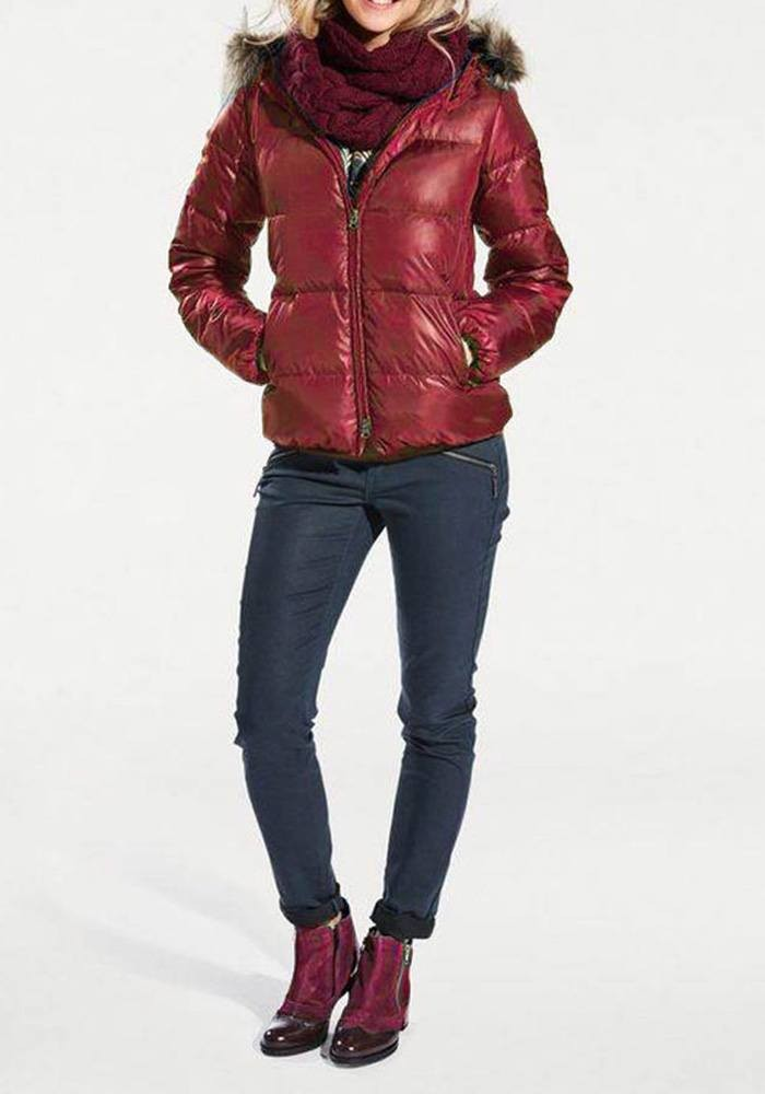cd43860e7 Down jacket with weave fur, cherry red