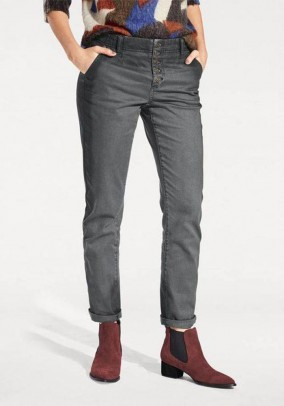 Boyfriend-style trousers, dark grey