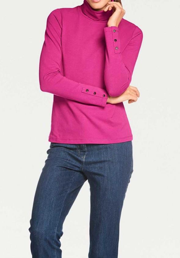 Rožinis megztinis aukštu kaklu