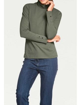 Žalias megztinis aukštu kaklu