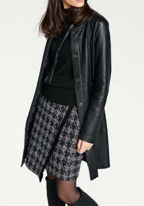 Leather coat, black