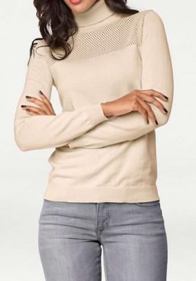 Turtleneck sweatshirt, sand
