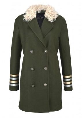 Originalus chaki spalvos paltas