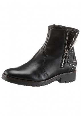 Women's leather biker boots, black