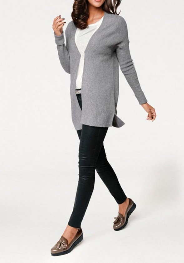 Ilgas pilkas kašmyro megztinis