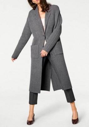 Knit coat, blended grey