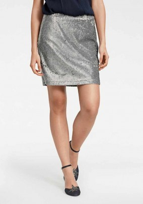 Sequin skirt, silver coloured