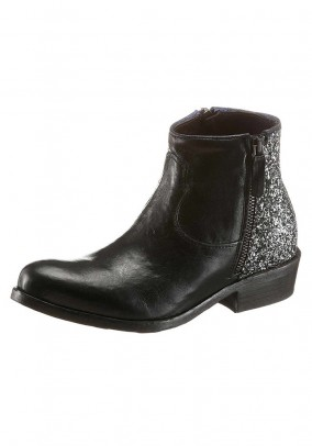 Women's leather bootie, black