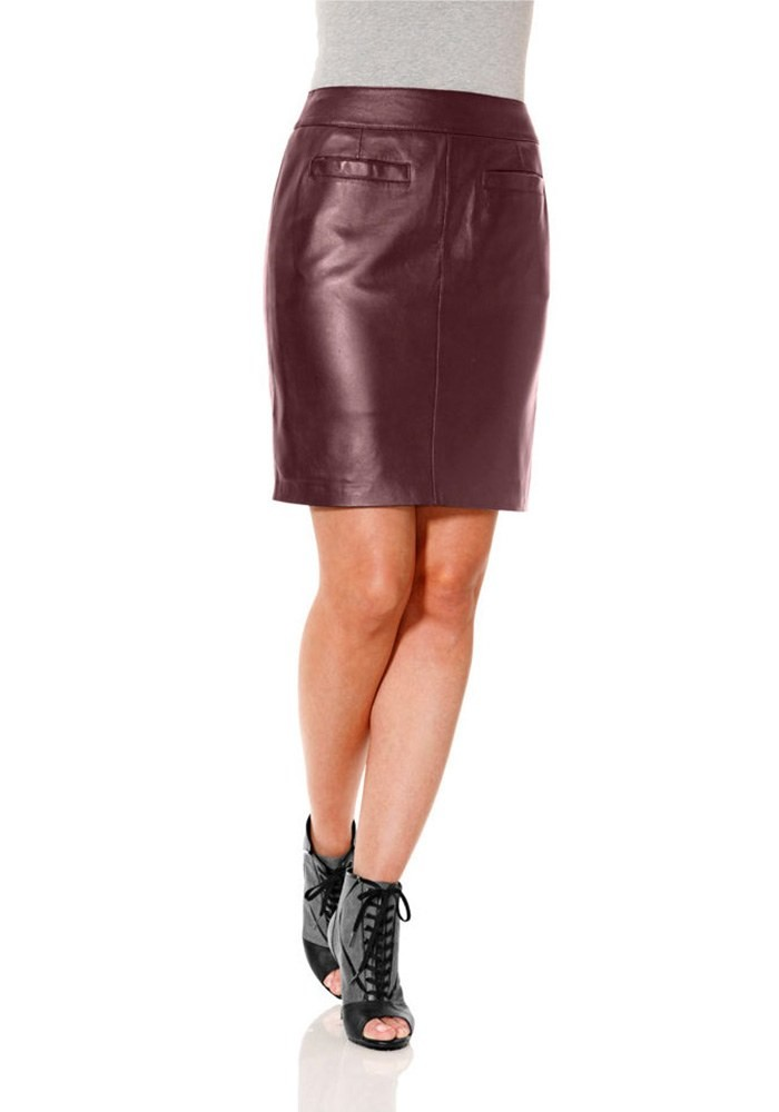 top-rated authentic look for best choice Lamb nappa leather skirt, bordeaux
