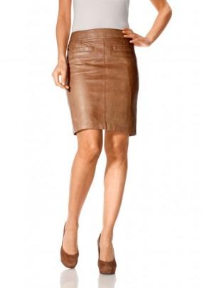 Rudas natūralios odos sijonas