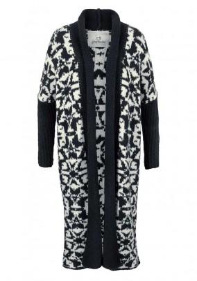 Knit coat, navy-white