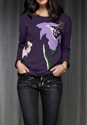 Sweatshirt with sequins, purple