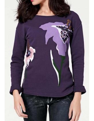 Violetinis dekoruotas bliuzonas