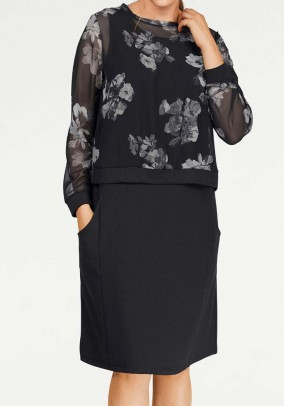 Two-in-one dress, black-grey