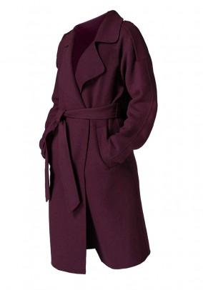 Bordo spalvos vilnos paltas. Liko 44 dydis