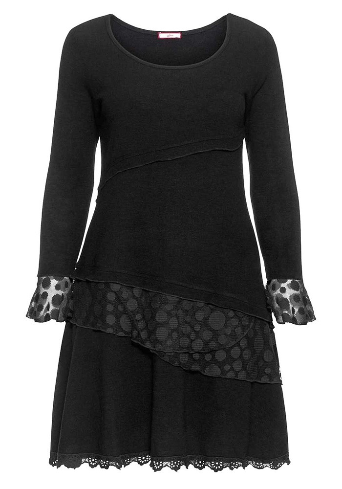 c97a049dfbe98 Dress with lace, black