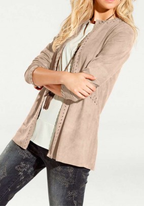 Blazer in velours leather look, sand