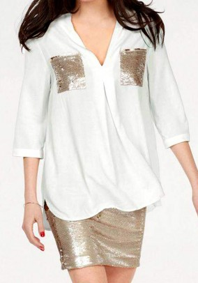 Blouse with sequins, white
