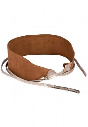 Leather belt, cognac-gold