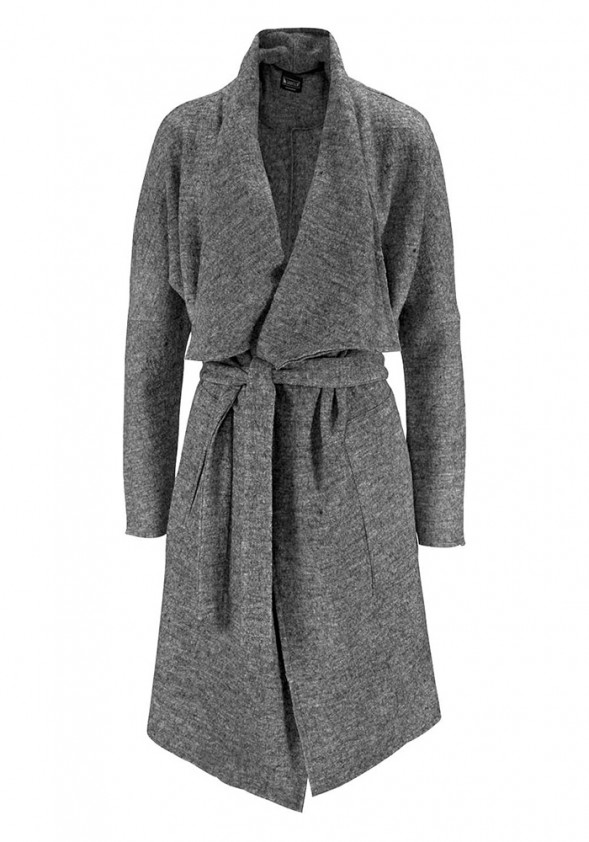 Pilkas lengvas vilnos paltas