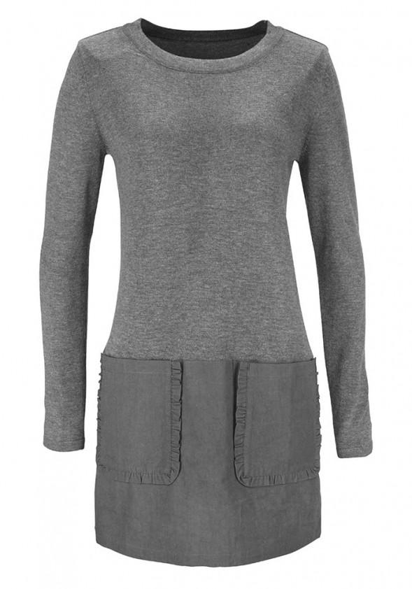 """Ilgas pilkas megztinis """"Vivi"""". Liko 40 dydis"""