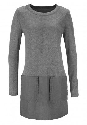 Patch sweater, grey
