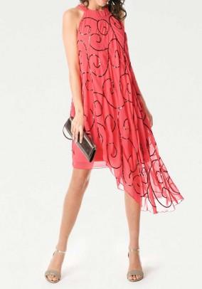Koralo spalvos vakarinė suknelė