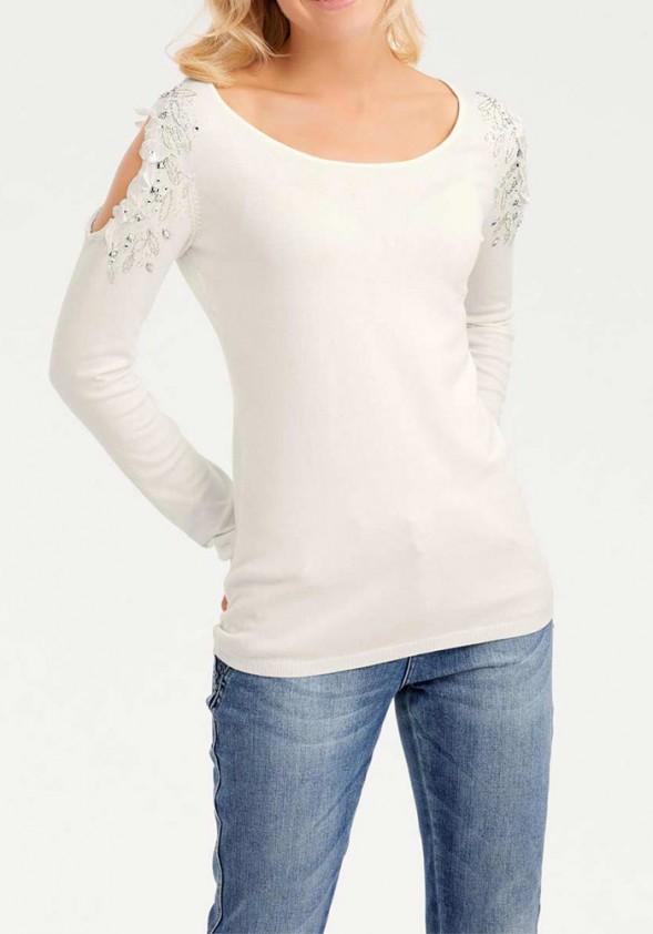 "Baltas dekoruotas megztinis ""Stras"""