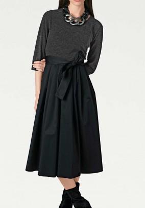 Patch dress, dark grey/ black