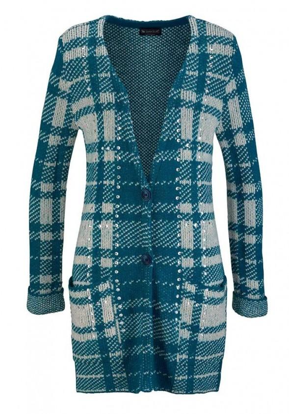 Mėlynas languotas megztinis