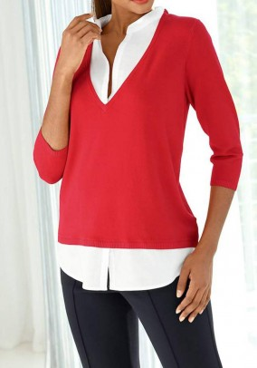 Two-in-one sweatshirt, coral-white