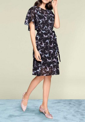 Chiffon dress, black-multicolour