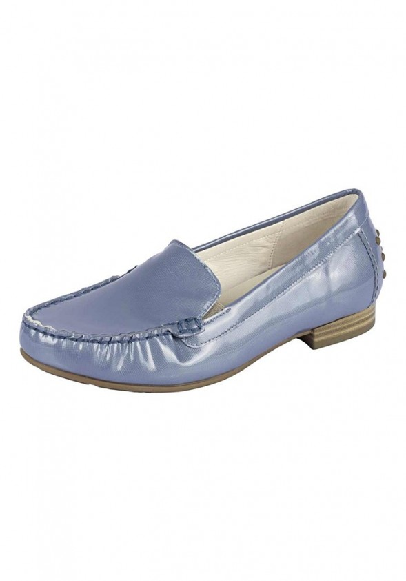 Women's patent leather slipper, blue brey