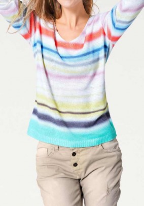 Ladies coarse knit sweater, colorful