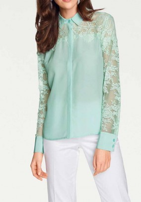 Silk blouse with lace, mint