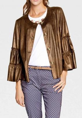 Leather imitation jacket, cognac