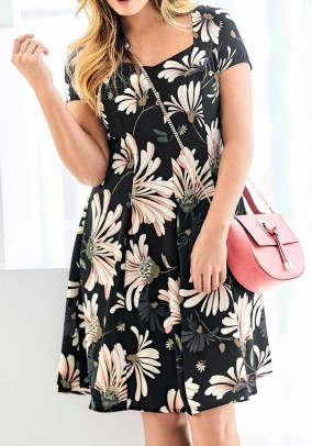Print dress, black-multicolour