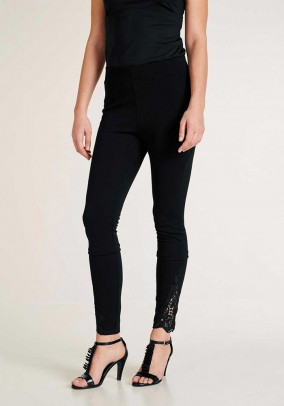 Leggings with lace, black