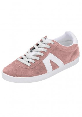 Velours leather sneaker, white